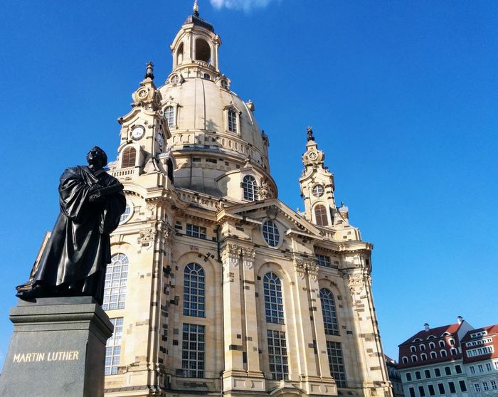 Architecture History Statue Travel Destinations Sculpture Built Structure Low Angle View Building Exterior Ornate Tourism Sky Day Travel No People Clear Sky Outdoors Blue Politics And Government City Martin Luther