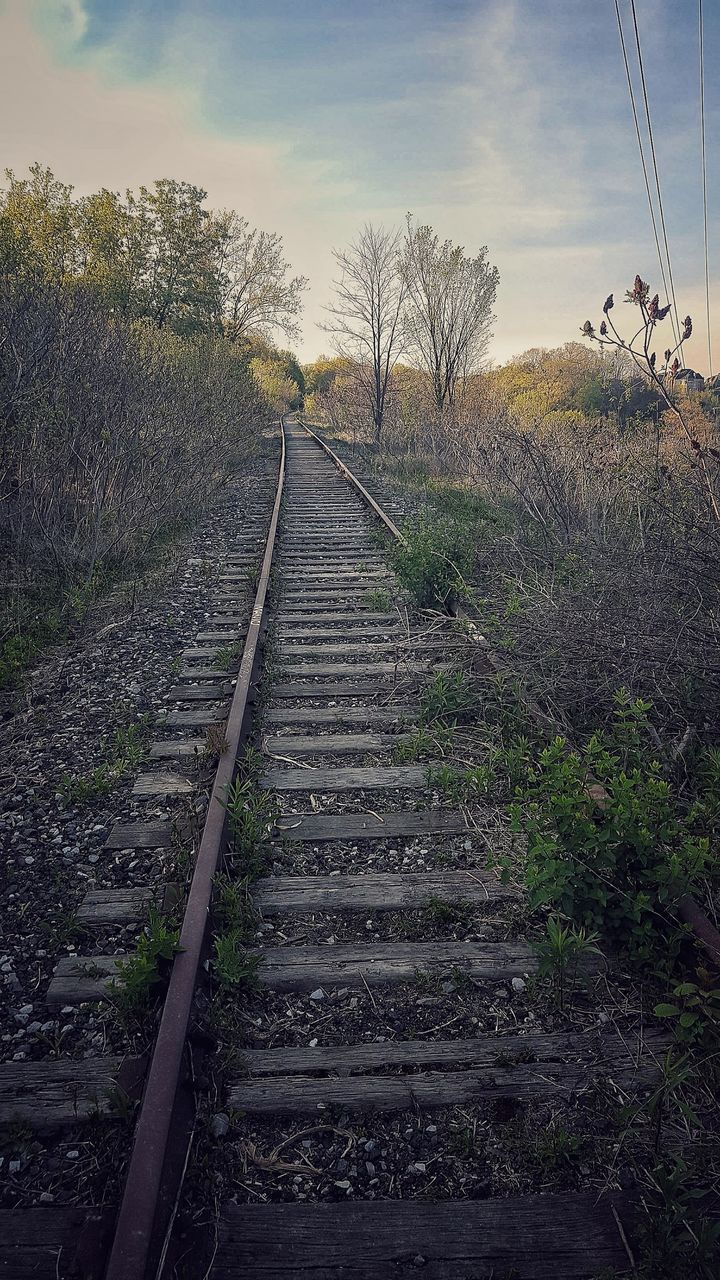 sky, railroad track, tree, the way forward, rail transportation, nature, tranquil scene, transportation, day, cloud - sky, outdoors, no people, beauty in nature, scenics
