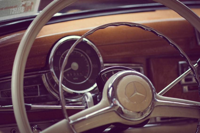 The car Close-up Day Helm Indoors  Mercedes-Benz No People Old-fashioned Transportation