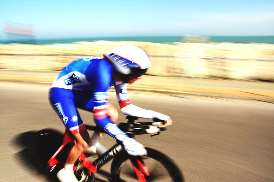 Cycling Speed Helmet Sports Race Bicycle Action Tirrenoadriatico Sport FDJ Panning Sea Blue Race Competition