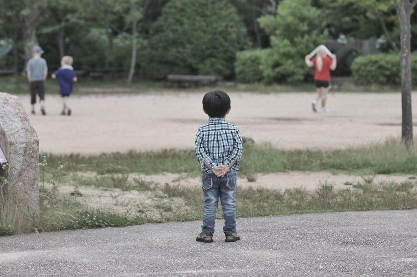 Boy Child Kid Japan Mount Maya Back Looking Soccer Sport Formal Watching Coach Standing
