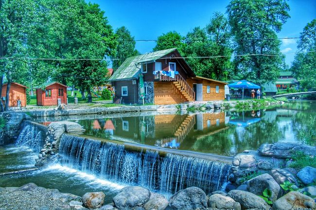 Water Built Structure Architecture House Flowing Water Blue Scenics Nature Outdoors Green Color Tranquil Scene Stone Splashing Nature Travel Photography Panoramic Photography Picnic Area Camping Camping Life