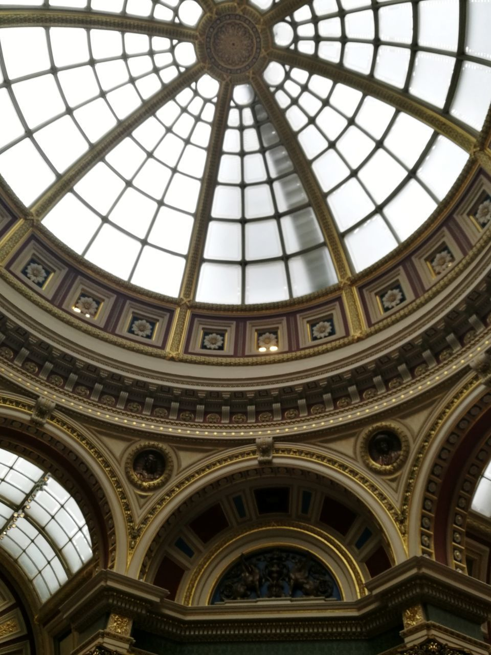 indoors, low angle view, architecture, built structure, ceiling, architectural feature, dome, no people, window, day, travel destinations, architectural design