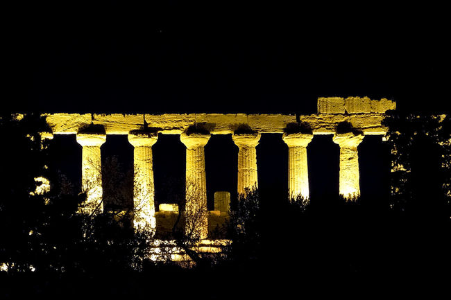 Night vision of the Temple of Juno in Agrigento (Sicily) illuminated by artificial lights Agrigento Ancient Archeology Architecture Architecture Columns Doric Hera Historic Illuminated Italy Juno Landmark Long Exposure Monument Night Nocturne Ruins Sicily Silhouette Temple Temple Of Hera Temple Of Juno Valle Dei Templi Valley Of The Temples