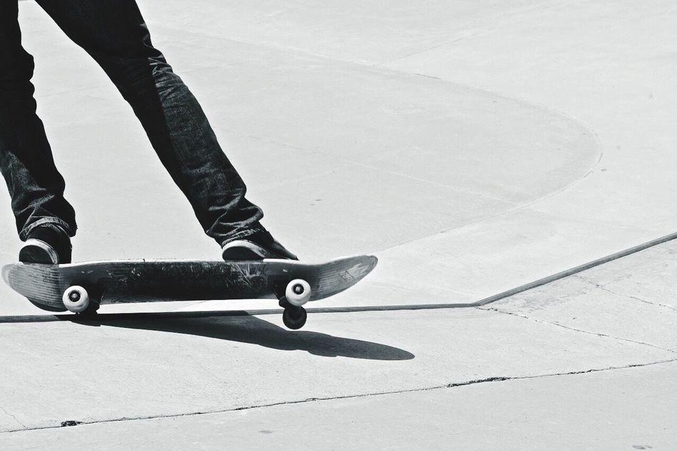 Skateboarding One Wheeler