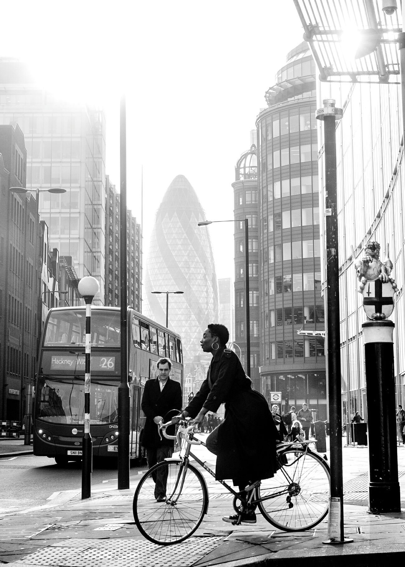 London Lifestyle Gherkin Gherkin Tower London London Streets Streetphotography Bicycle City Life Skyscraper Urban Road Architecture City Fujifilm FUJIFILM X-T1 Fujifilm_xseries Black And White