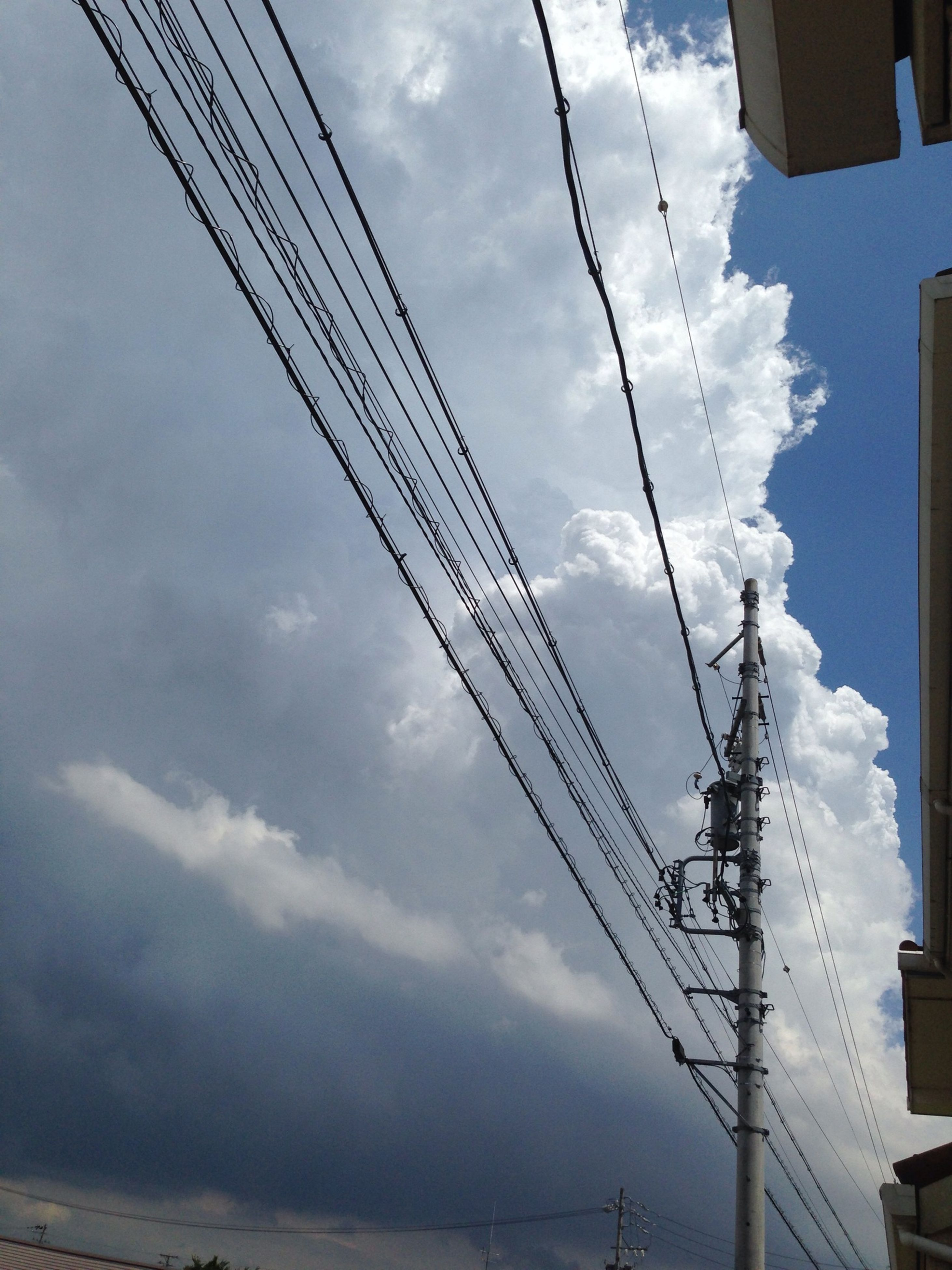 power line, electricity pylon, power supply, electricity, sky, cable, connection, fuel and power generation, low angle view, cloud - sky, technology, cloudy, cloud, built structure, power cable, architecture, building exterior, outdoors, day, no people