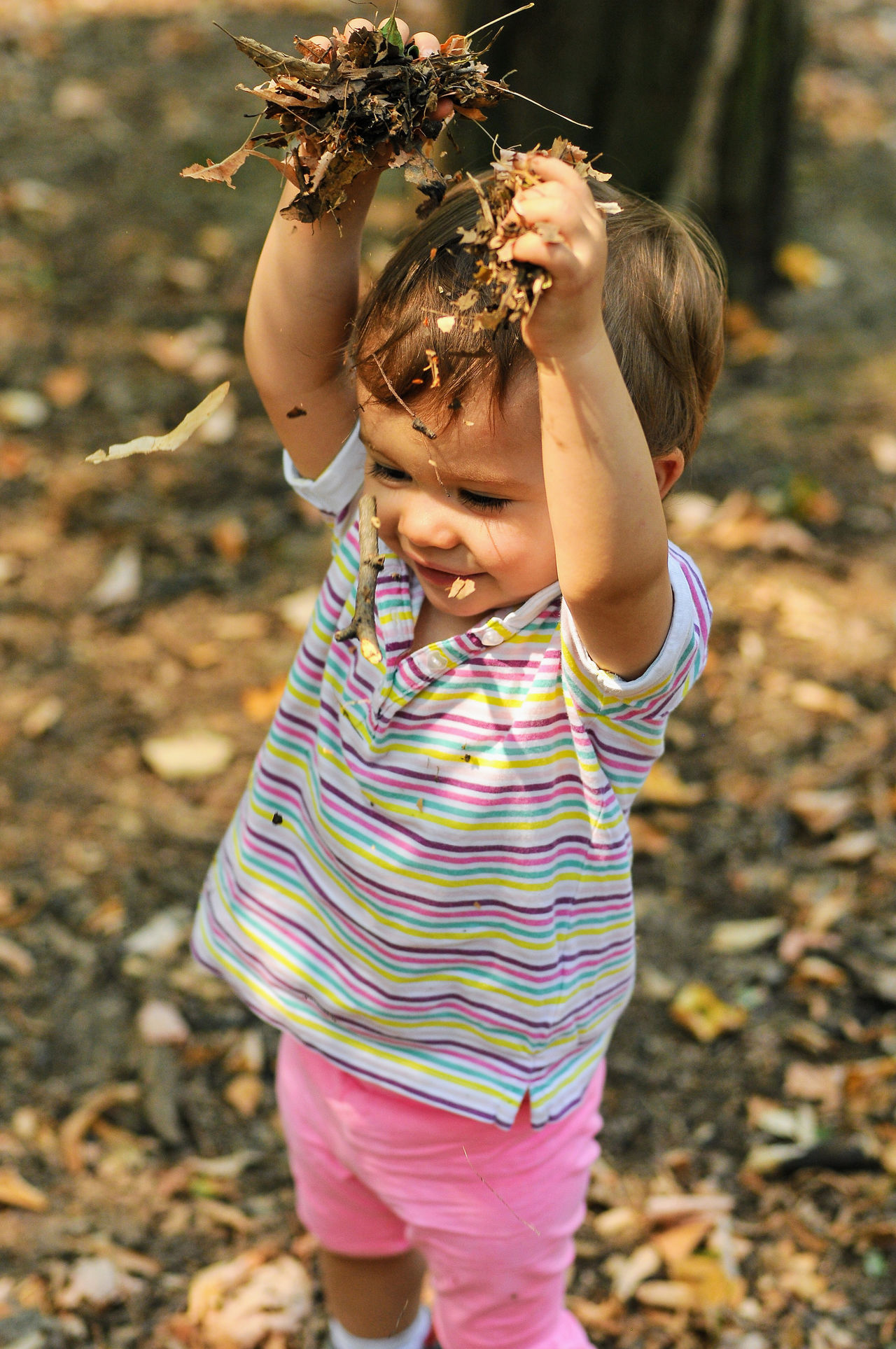 A baby girl is playing with leafs in the nature. Autumn Cheerful Childhood Childhood Memories Dust Elementary Age Enjoying The Nature Enjoyments Girls Golden Leafs Growing Up Hands Up Hands Up In The Air Joyful Moments Nature Playing With Nature Pleasure Pleasure Time Pleasures Of Life Throwing Leafs