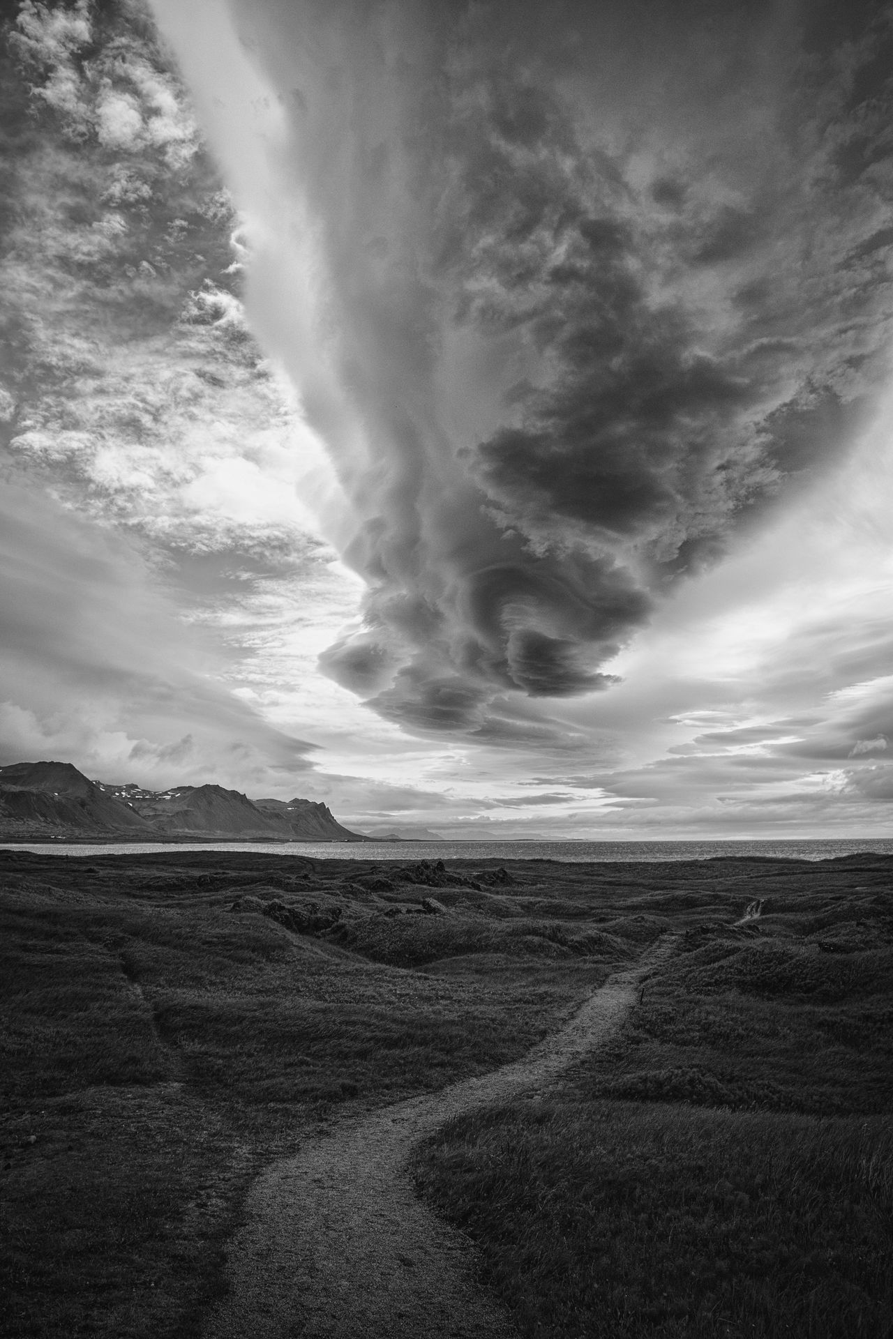 neither her nor there Adventure Beauty In Nature Black And White Photography Cloud - Sky Day Explore The World Iceland Landscape Nature No People Outdoors Paths Poetic Photography Scenics Sky Storm Cloud EyeEmNewHere