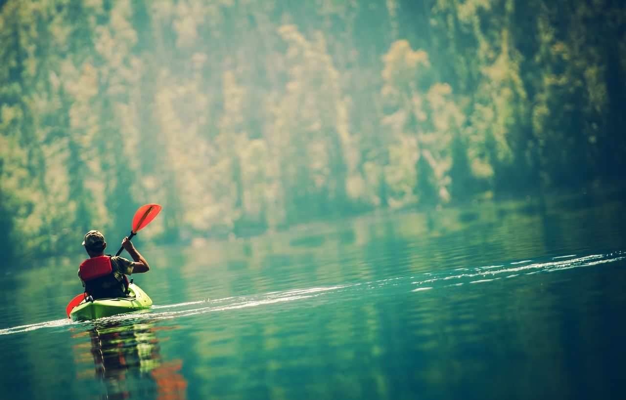 Senior Kayaker on the Scenic Lake Kayak Kayaker Kayaking Lake Men Sport