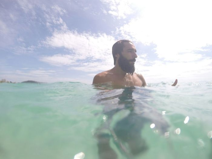 Koh Rong Beach Crystal Clear Bluesky Summer Vacation Beard Beautyfullbeach Travel Swimming