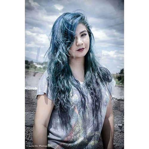 JavierHcPhotography Theechoestheband Girl Vocal Blue Hair Sky Rock Music