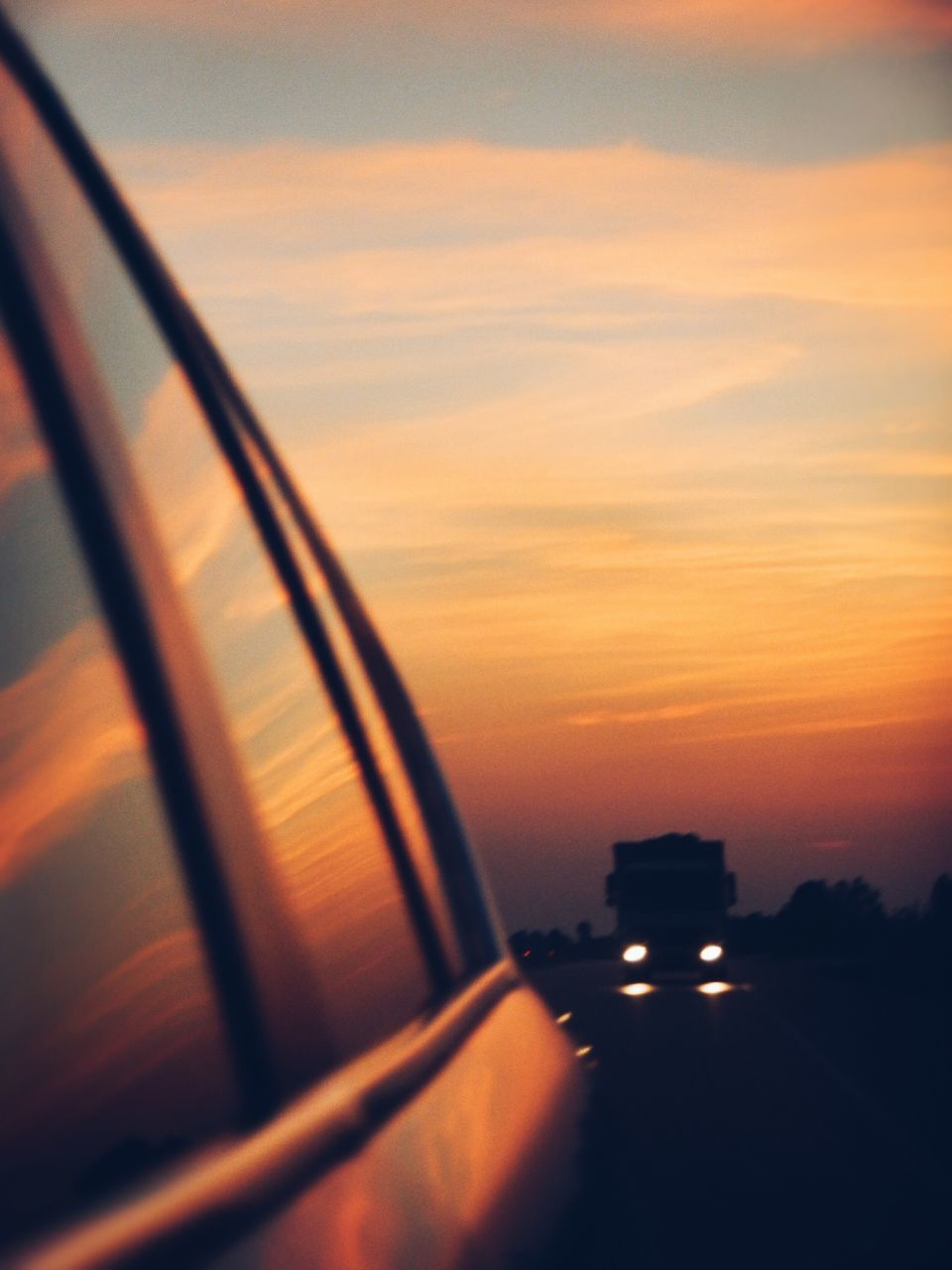 transportation, car, sunset, mode of transport, land vehicle, sky, no people, road, side-view mirror, travel, journey, nature, scenics, outdoors, close-up, day