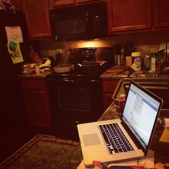 Bringing the laptop into the kitchen because it has Spotify. And you need music to cook. Ofcourse Jammin Cookin