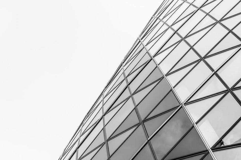Close-up London Contrast Black & White Bnw Monochromatic Architectural Blackandwhite Photography Office Building Lookingup Looking Up Building Exterior Architecture Window Windows Architectual Detail Glass City White Background Minimal Minimalism No People