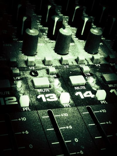 A sound mixing desk. Mixing Desk Sound Desk Dials Switches Knobs Slider Slides Buttons Levels Mixer Desk