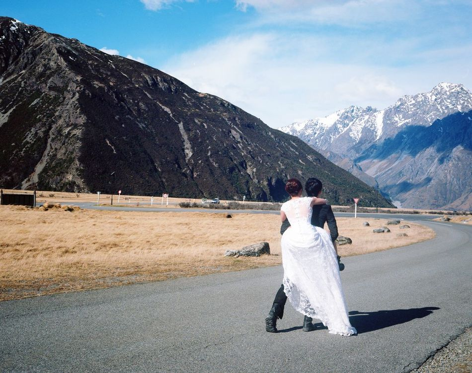 RunAway Bride  Groom Pre Wedding Photography Mamiya 7 Kodak Ektar 100 Film Photography Analogue Photography Analog Analogphotography New Zealand Landscape New Zealand Beauty Travel Photography Stories, Fables & Fairytales Film