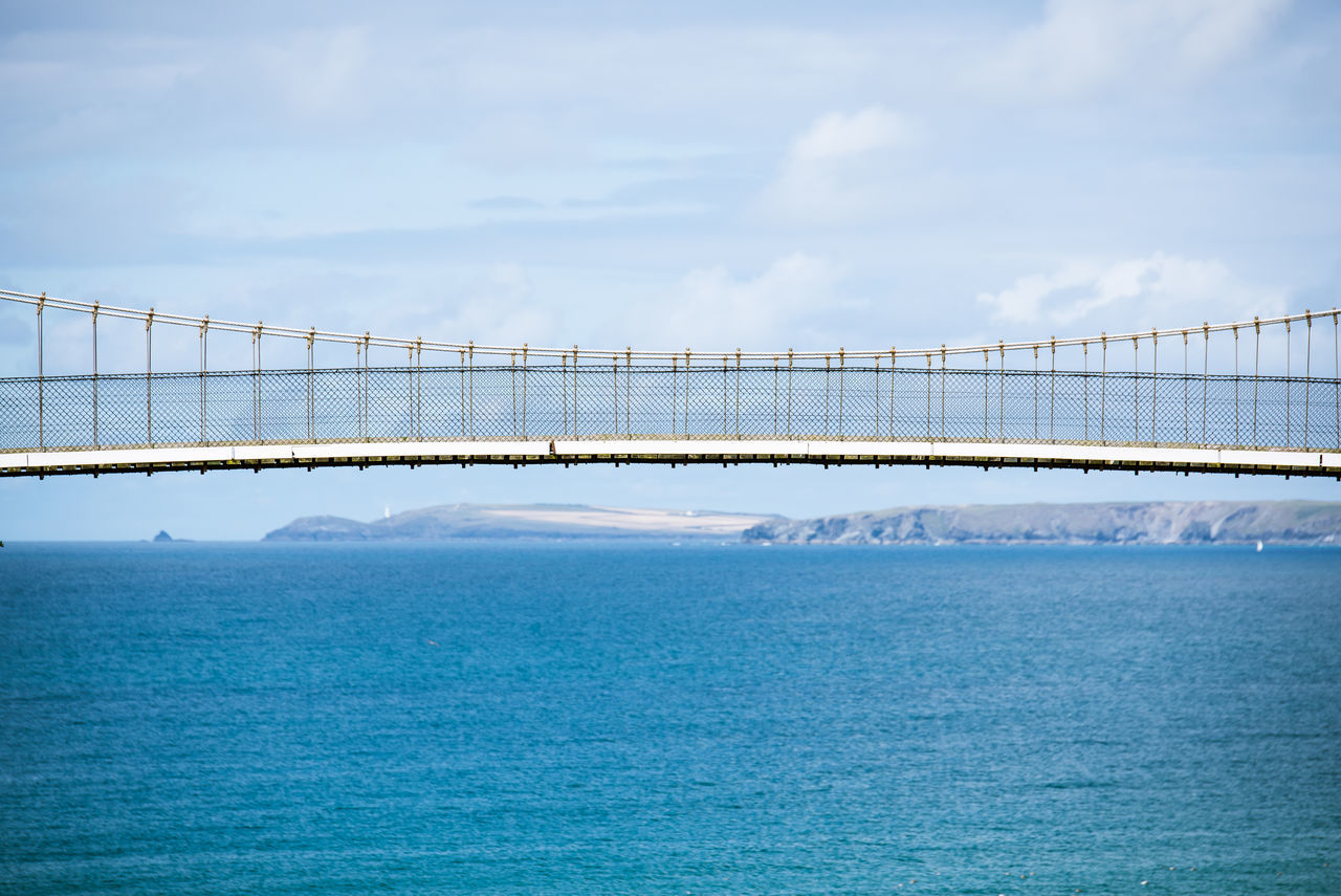 Architecture Beauty In Nature Blue Bridge - Man Made Structure Built Structure Connection Day Nature No People Outdoors Scenics Sea Sky Suspension Bridge Tranquil Scene Tranquility Travel Destinations Water