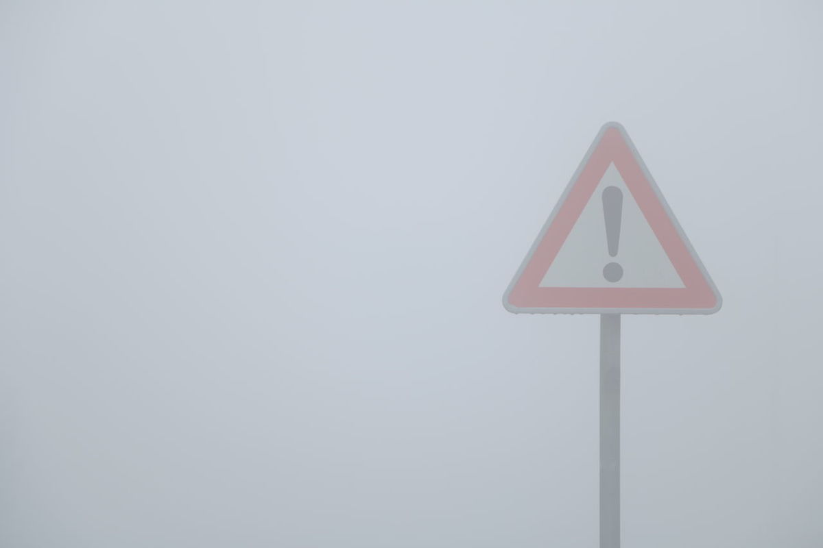 Triangle Shape No People Low Angle View Road Sign Day Close-up Outdoors Sky Fog Fogy Canoneos70D Simple Simple Photography Stop EyeEmNewHere