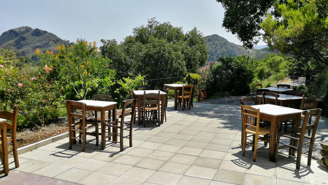 Perspectives On Nature Beauty In Nature Chair Day Growth Landscape Mountain Nature No People Outdoors Table Terrace Tree