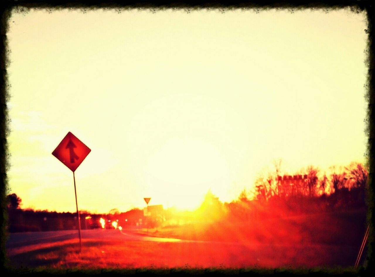 road sign, sunset, road, red, transportation, tree, outdoors, no people, sky, nature, day, close-up