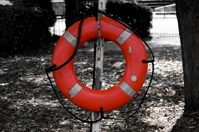 Outdoors Selected Color Red Black And White Life Buoy Highlighted Colour Of Life Colour And Patterns