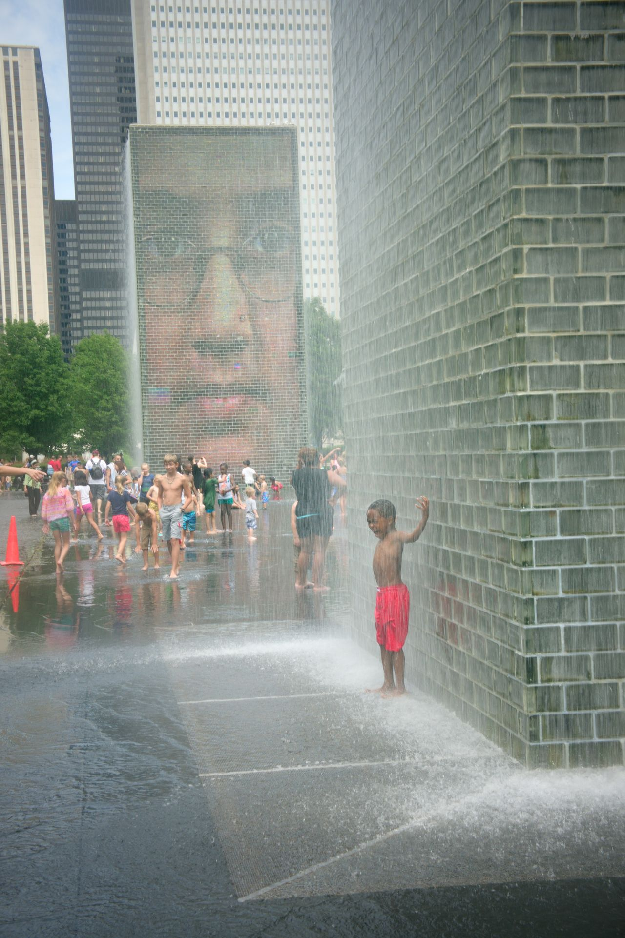 Summer time fun. Check This Out Millenium Park Chicago Park Kids Playing In Park Kid Playing Water Kids Playing At The Park EyeEm Best Shots EyeEm Gallery Hidden Gems  in Chicago, Illinois