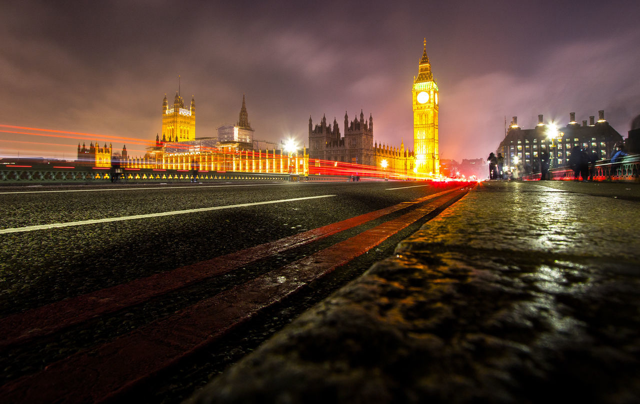 Light Ways Architecture Building Exterior Built Structure City Clock Tower Government Illuminated Lodon London Long Exposure Night No People Outdoors Perspective Sky Transportation Travel Destinations Water Westminster