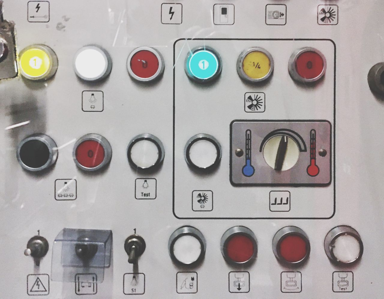Control Panel Button Buttons Train Switch Tappet Switch Flip Switch Tumbler Switch Control Controller Light Panel Temperature Control System Technology Tech Pictography Pictogram Pictograph Power Heat Air Condition Cooling  Power Control The Color Of Technology