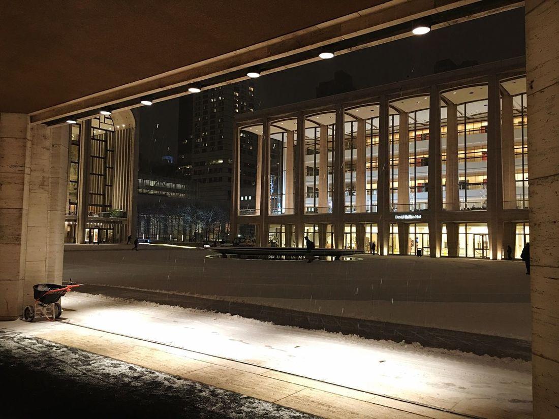 Lincoln Center David Geffen Hall Snow Night