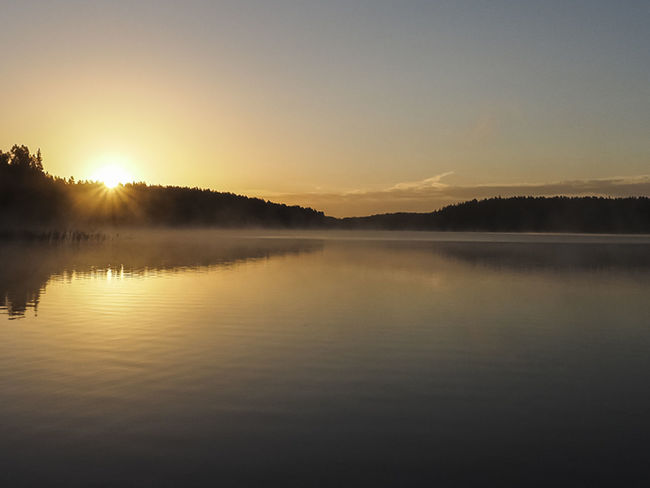 Sunrise over lake Sungardas, Lithuania Beauty In Nature Clear Sky Day Idyllic Lake Nature No People Outdoors Reflection Scenics Silhouette Sky Sun Sunset Tranquil Scene Tranquility Tree Water Waterfront