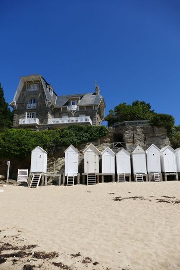 Sand Clear Sky Blue Sky Beach Beach Huts Beach Hut Beach House White Beach Photography Beachphotography Beach Life