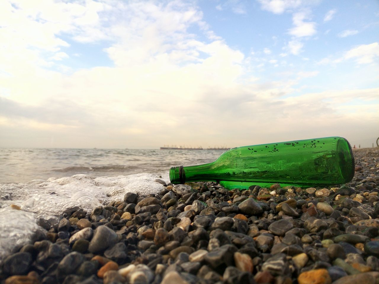 bottle, beach, sea, plastic, water, nature, tranquility, sky, no people, outdoors, sand, day, beauty in nature