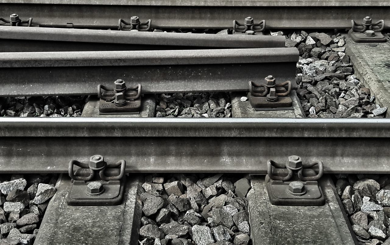 Anfang oder Ende? Railroad Track Rails Rail Transportation Railroad Transportation Outdoors No People Day Metalwork Metal Structure The End Beginning Minimalism