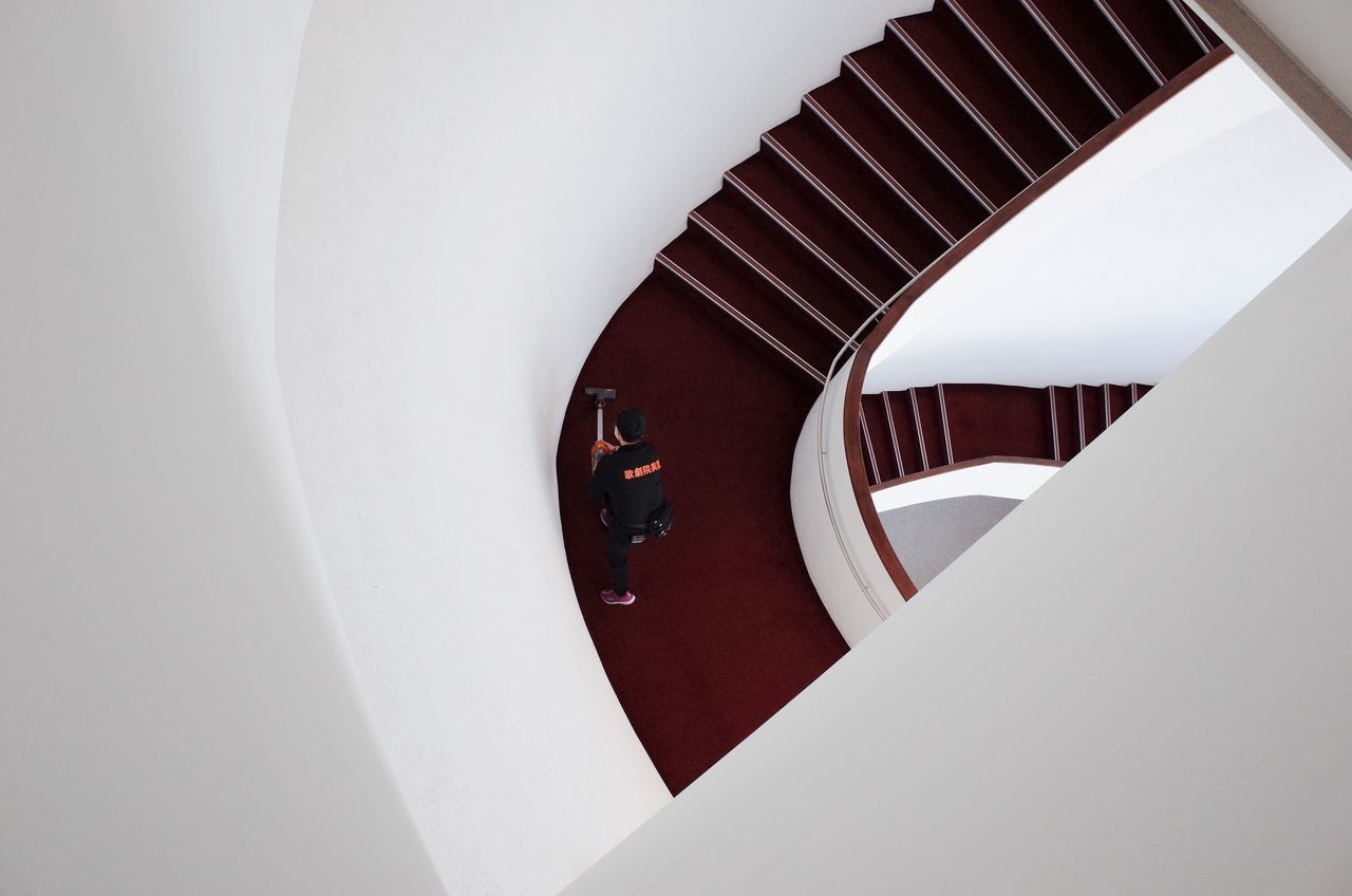 Cleaner Stairs Top Perspective Looking Down Clean White Background Negative Space Minimalism Museum Taichung, Taiwan Taiwan Taichung Metropolitan Opera House Instagramer