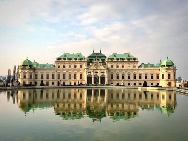 Belvedere. Castle Vienna Wien Viena, Austria Architecture Reflection Sky Mirror Built Structure Water Waterfront Cloud - Sky No People Mirrored Reflections In The Water Beautiful Architecture_collection Architectural Column Light And Shadow My Point Of View Old Buildings Schloss Belvedere March 2017 Facades The Architect - 2017 EyeEm Awards