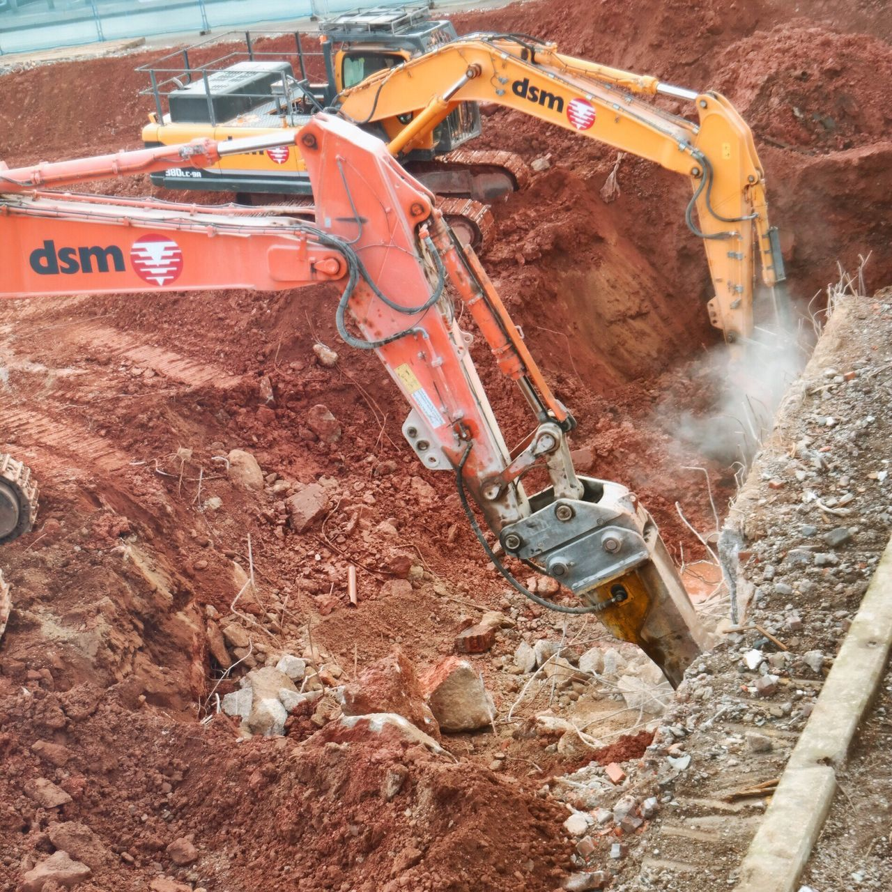 Digger Digging Hole Building Site Excavator Yellow Digger Red Earth Orange Digger