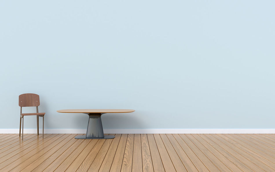 Room has a chair and table on empty blue wall background,3D rendering Chair Close-up Copy Space Day Empty Hardwood Floor Indoors  No People Table Wood - Material