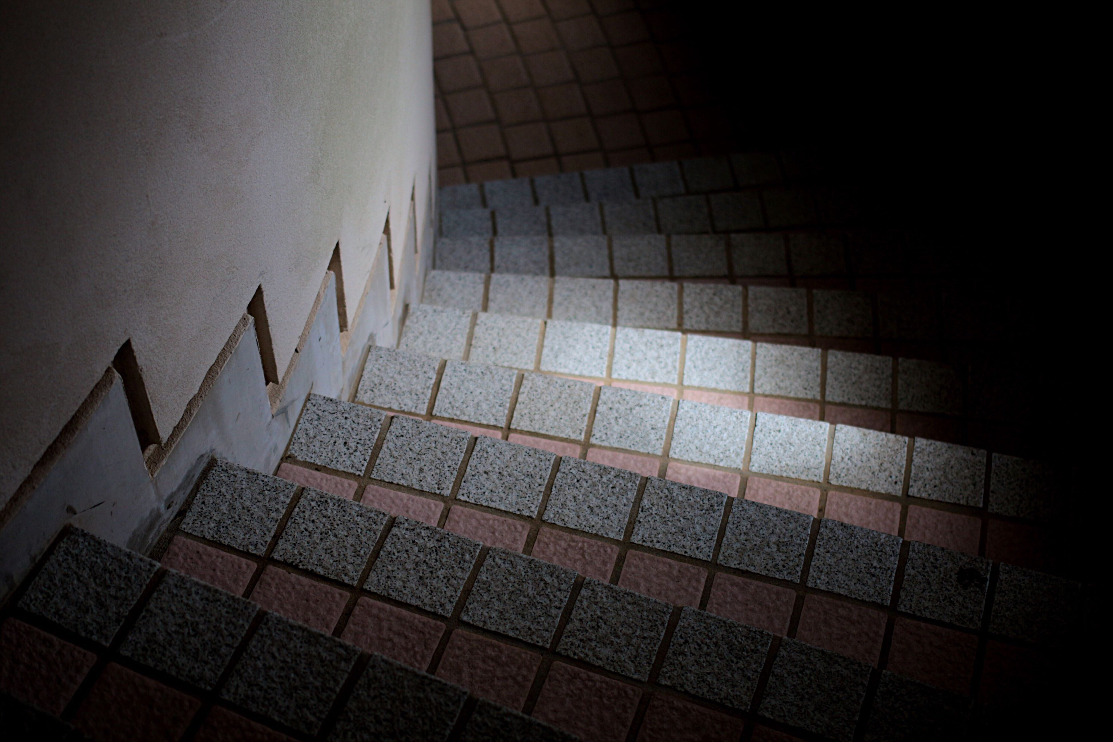 indoors, pattern, built structure, architecture, wall - building feature, tiled floor, shadow, flooring, no people, high angle view, sunlight, design, day, geometric shape, vignette, auto post production filter, tile, close-up, paving stone