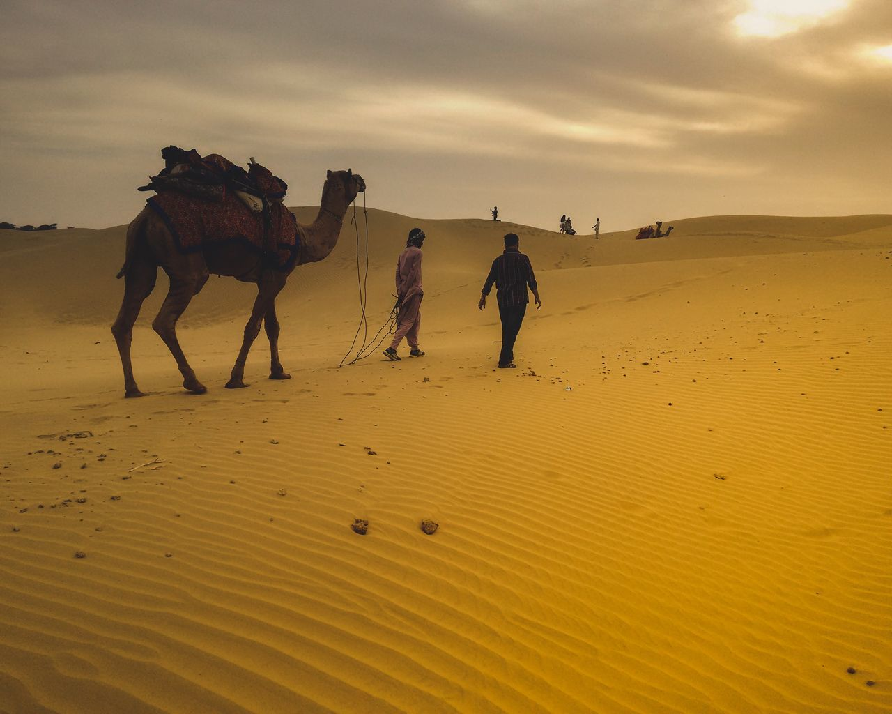sand, domestic animals, mammal, horse, sky, desert, men, sand dune, real people, togetherness, nature, outdoors, full length, day, people