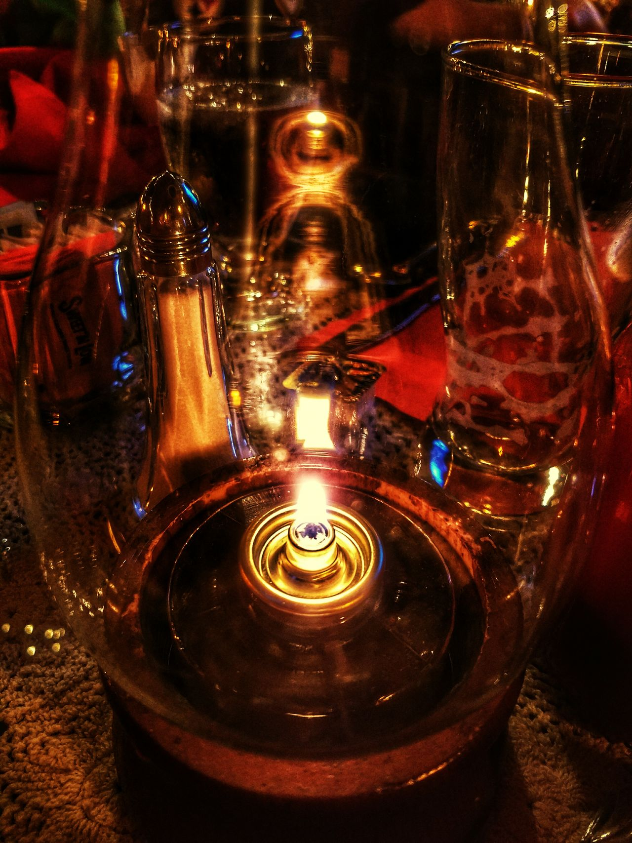 Illuminated Futuristic No People Burning Night Indoors  Close-up Indoors  Romantic Place Dinner For Two Hurricane Lamp