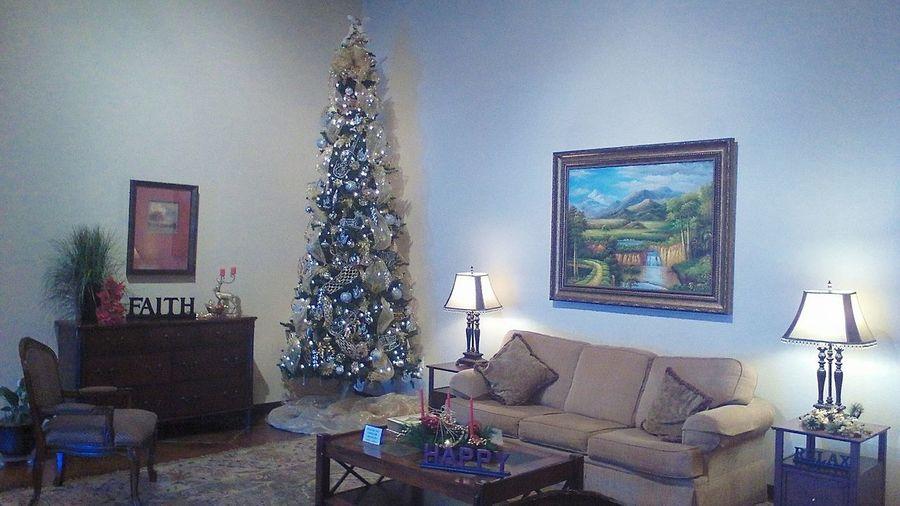 Lobby at Faith And Wisdom Church Christmas Tree Stylish Furniture