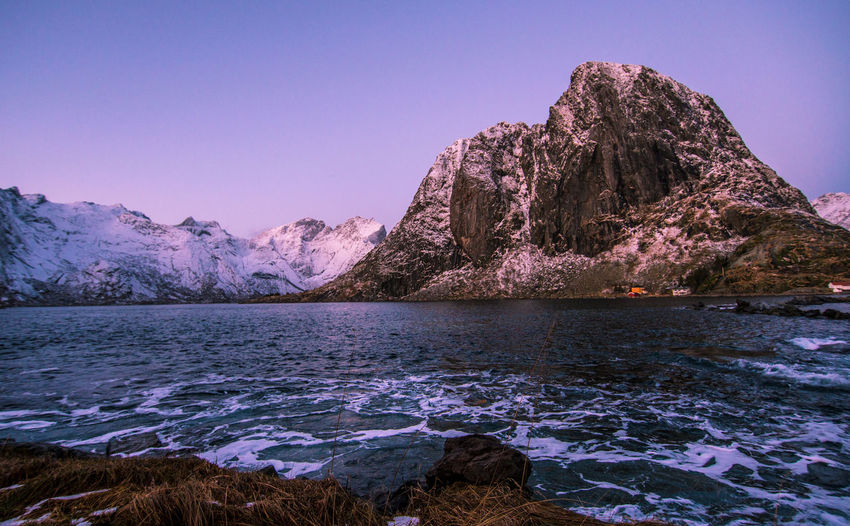 Lofoten Islands Norway Astronomy Beauty In Nature Blue Clear Sky Cold Temperature Day Galaxy Hamnøy Lake Landscape Lofoten Mountain Mountain Range Nature No People Outdoors Scenics Sky Snow Tranquil Scene Tranquility Water Winter Shades Of Winter An Eye For Travel