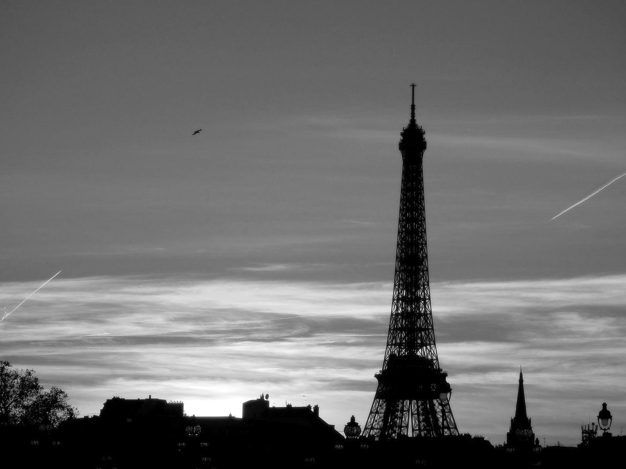 My fave old lady in Paris ! Architecture Building Exterior City Eiffel Eiffel Tower Paris Silhouette Sky Tour Eiffel Tour Eiffel Black And White Tour Eiffel, Paris. Tower