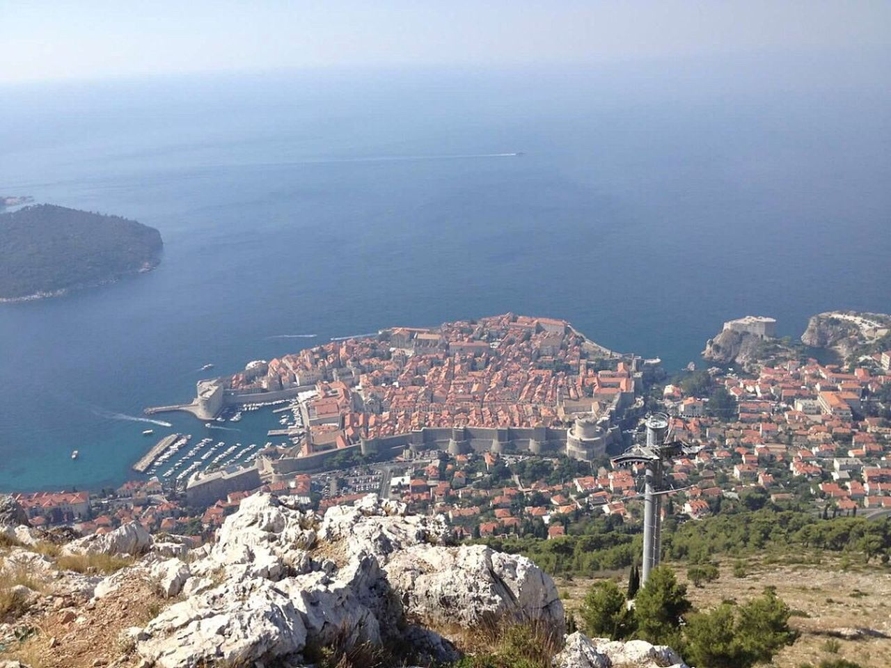 High Angle View Cityscape Building Exterior Architecture Crowded Sea City Dubrovnik Croatia Residential District Built Structure Aerial View Water Residential Building Outdoors Mountain Scenics Day Nature Sky Scenic Lookout Beauty In Nature