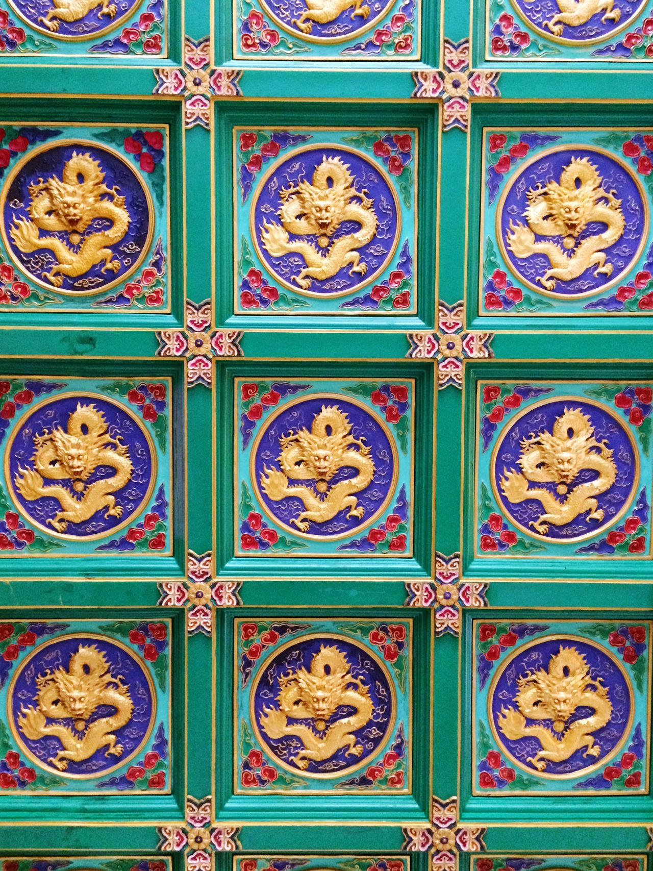 Pattern Floral Pattern Multi Colored No People Backgrounds Architecture Cultures Day Chinese Temple
