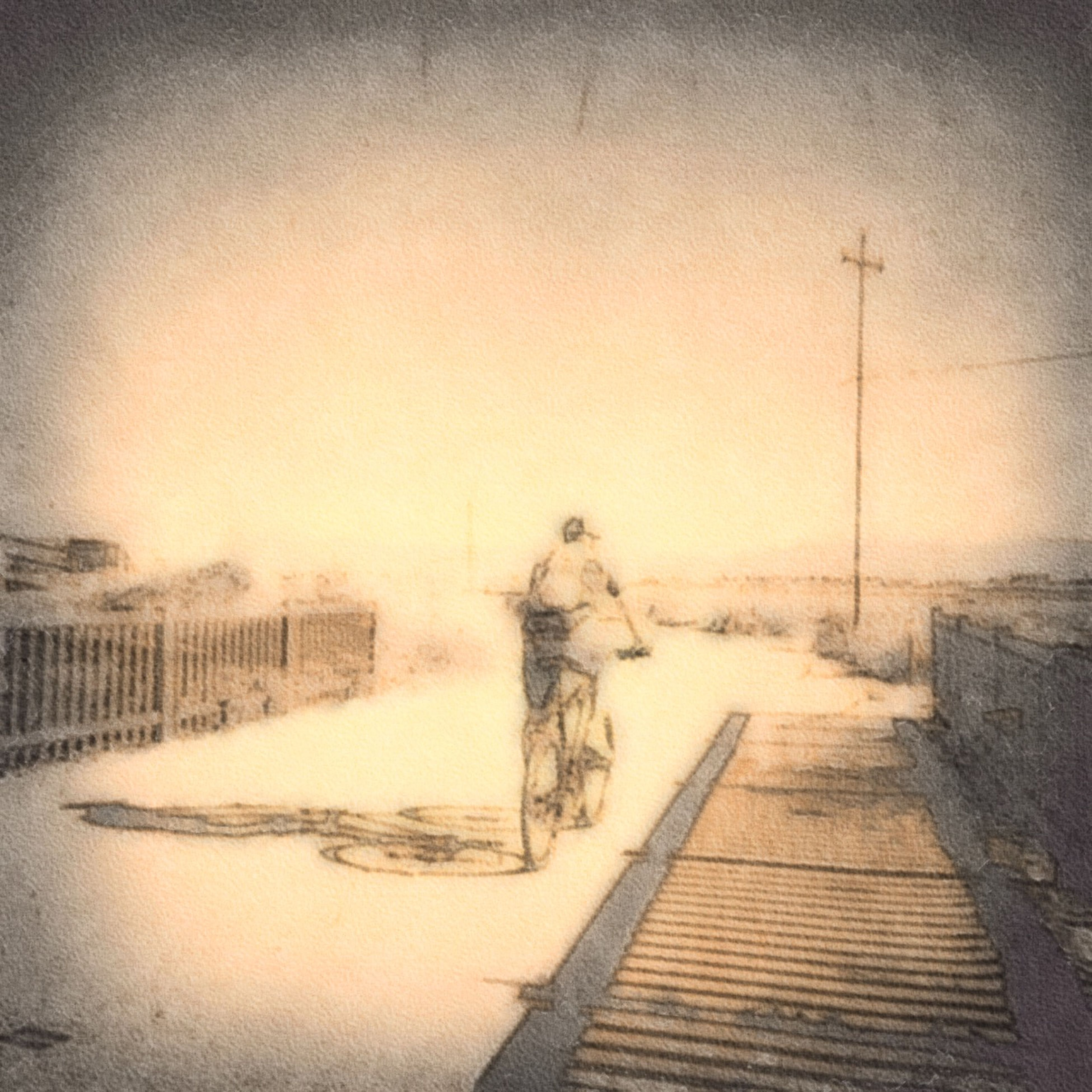 full length, water, the way forward, lifestyles, transportation, sunset, bicycle, outdoors, clear sky, men, leisure activity, nature, sky, copy space, one animal, animal themes, walking, auto post production filter