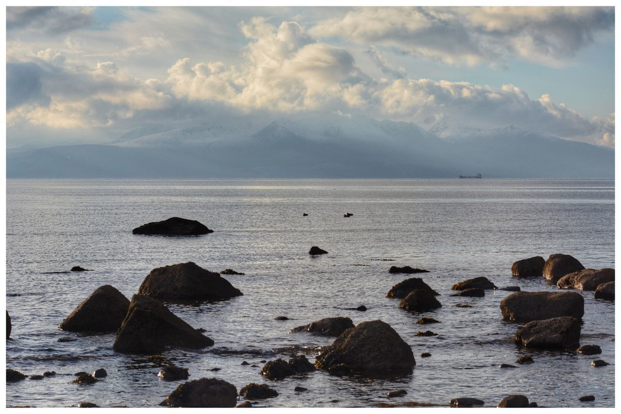 Sea Beach Nature Water Tranquil Scene Sky Horizon Over Water Tranquility No People Scenics Beauty In Nature Outdoors Day looking towards Isle Of Arran  EyeEm Gallery EyeEmBestPics Eye4photography  Arran  EyeEm Mountains Winter Water_collection Sea And Sky Seascape Eye4photography