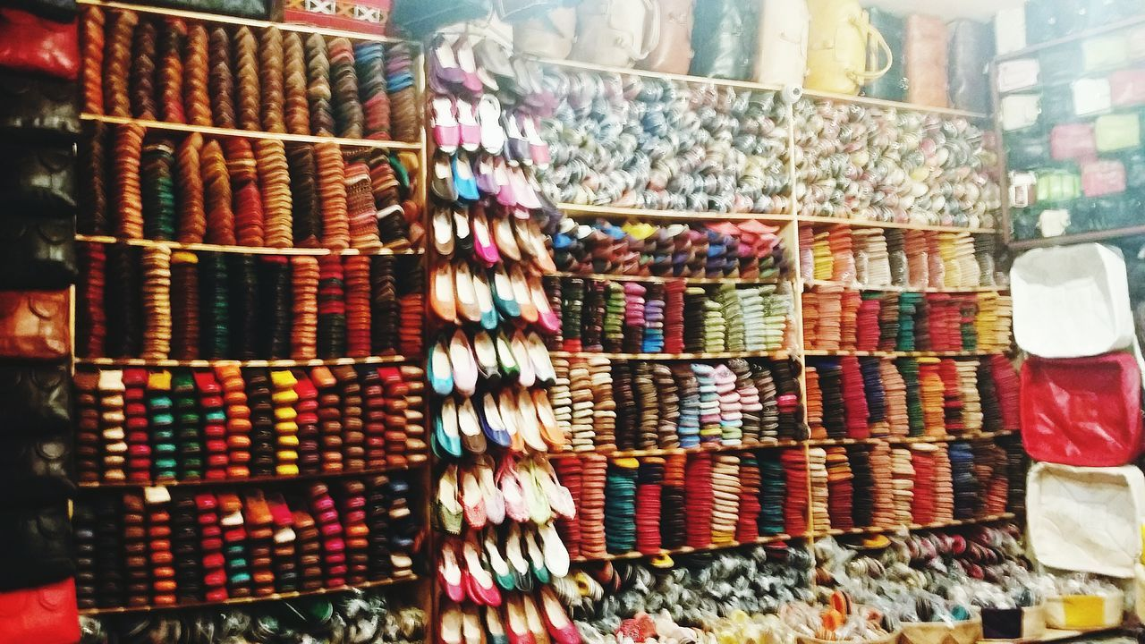 Multi Colored Fes Morocco Leather Craft Close-up Market