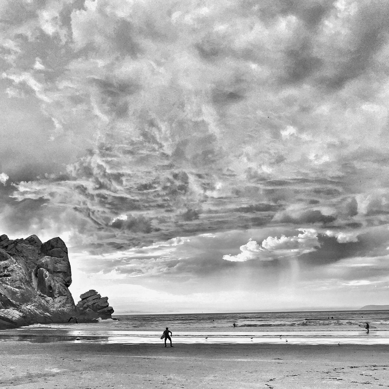 Stormy days ahead... Sea Cloud - Sky Sky Water Nature Beach Beauty In Nature One Person Outdoors Day Real People Scenics Horizon Over Water People Mothernature Waves, Ocean, Nature Waves Storm Landscape_photography Cloudy Blackandwhite Surfing EyeEm Best Shots EyeEm Nature Lover Stormy Weather